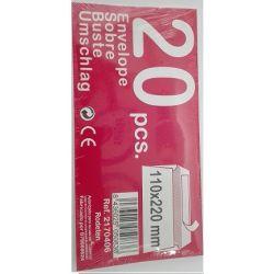 PAQUETE 20 SOBRES BLANCOS CON SOLOPA ADHESIVA 110X220MM
