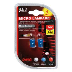 LAMPARA W5W LED AZUL 24V W2,1X9,5D (BLISTER 2 UNIDADES)