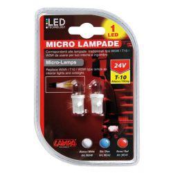 LAMPARA W5W LED BLANCO 24V W2,2X9,5D (BLISTER 2 UNIDADES)