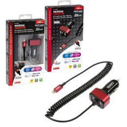 CARGADOR UNIVERSAL APPLE 8 PIN/MICRO USB 2 PUERTOS USB CARGA RAPIDA 5800 mA 12/24V