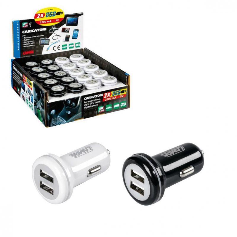 CARGADOR USB 12/24V 2100mA (EXPOSITOR 20 UNIDADES)