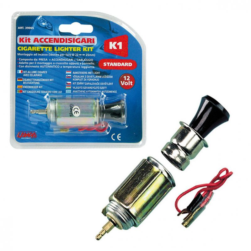 ENCHUFE MECHERO STANDARD K1 CON LUZ 21 MM DIAMETRO12V