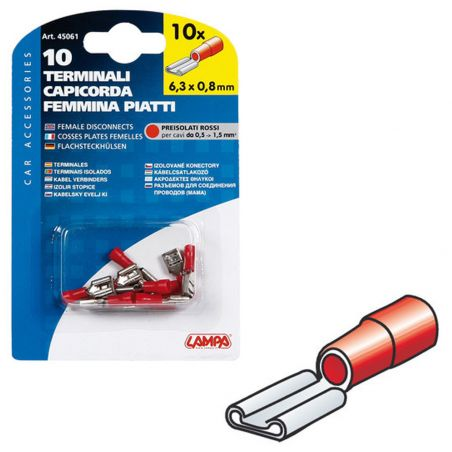 TERMINALES ROJO CABLE 0,5-1,5 MM2 10 HEMBRA