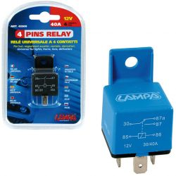 RELE UNIVERSAL 4 PINS 12V 30/40A
