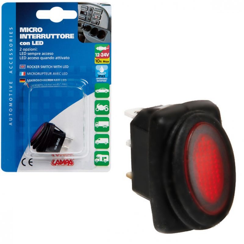 INTERRUPTOR IMPERMEABLE LED ROJO 12/24V 10A