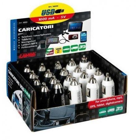 CARGADOR USB 12/24V 1000mA (EXPOSITOR 20 UNIDADES)