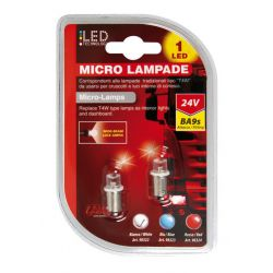 LAMPARA T4W 1 LED BLANCO 24V BA9S (BLISTER 2 UNIDADES)