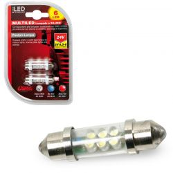 LAMPARA 11X41 MM 6 LED SILURO BLANCO 24V SV8,5-8 (BLISTER 2 UNIDADES)