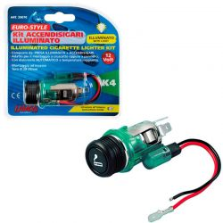 ENCHUFE MECHERO EUROPEO K4 CON LUZ 22 MM DIAMETRO 12V