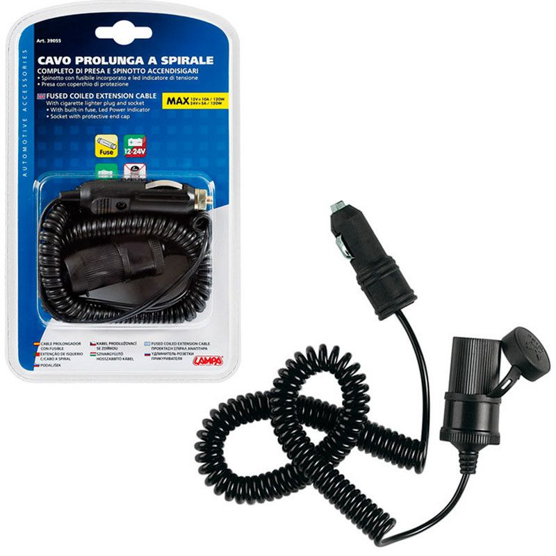 ENCHUFE MECHERO CON ALARGADOR ESPIRAL 4 M LUZ LED 12/24V
