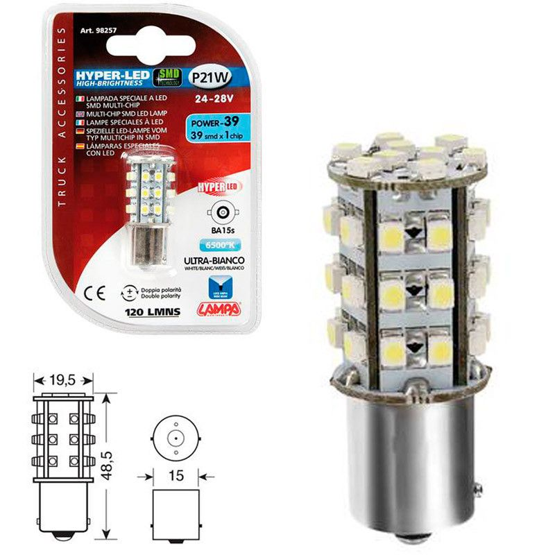 LAMPARA HYPER LED POWER 39 BLANCO 24/28V P21W